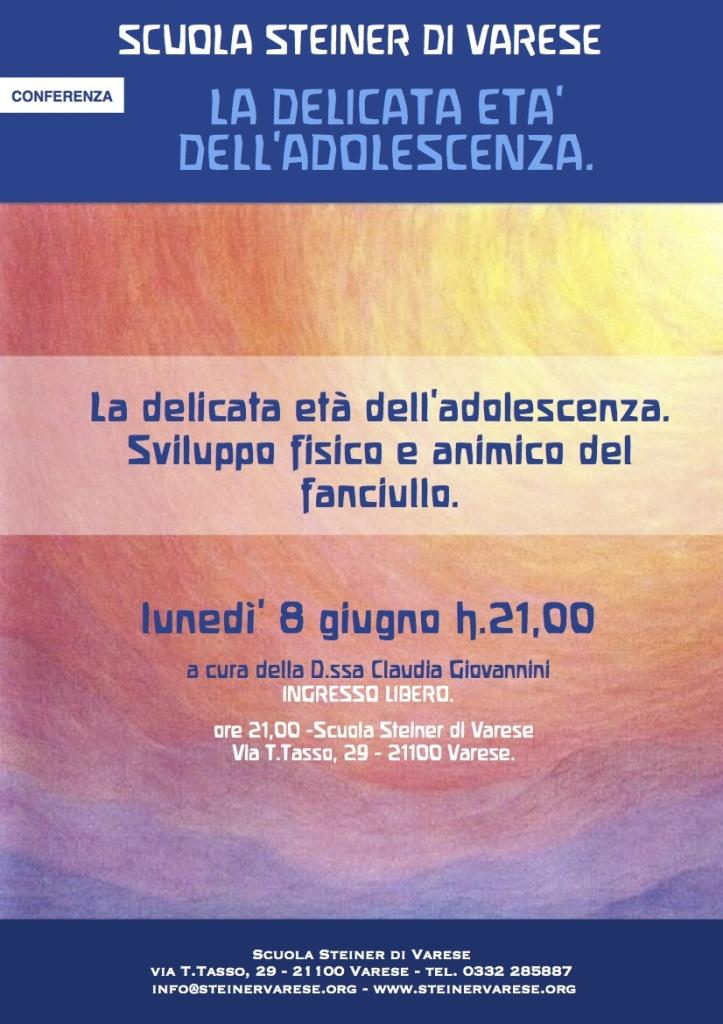 Conferenza Adolescenza Scuola Steiner di Varese